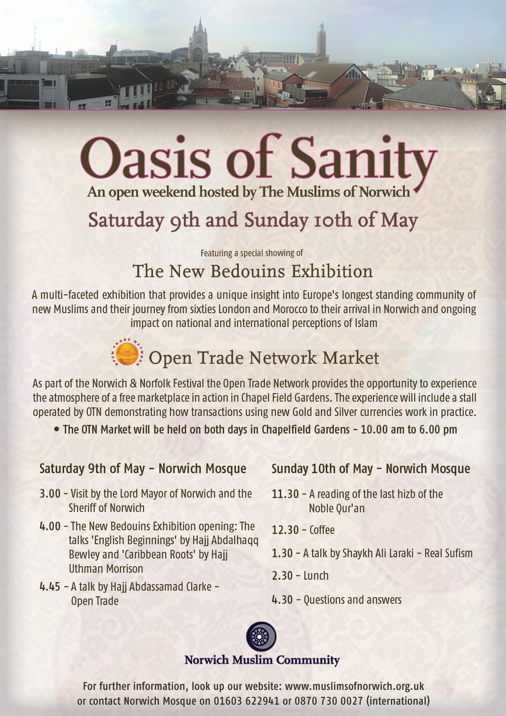 Norwich - Oasis of Sanity: An open weekend hosted by The Muslims of Norwich